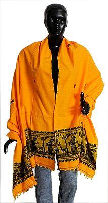 Dark Yellow Cotton Stole with Black Baluchari Design