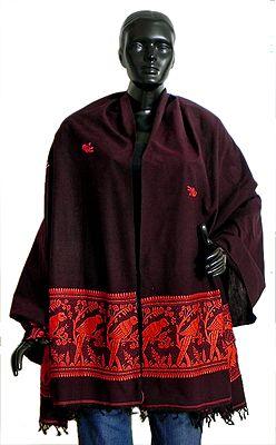 Brown Cotton Stole with Saffron Baluchari Design