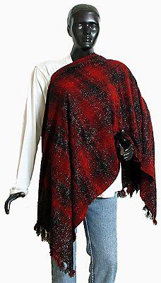 Dark Red and  Maroon Check Glittered Woollen Stole