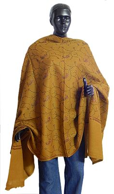 Chrome Yellow ladies Kashmiri Tusha Shawl with Suzni Hand Embroidery