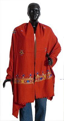Dark Saffron Woolen Shawl with Mirrorwork