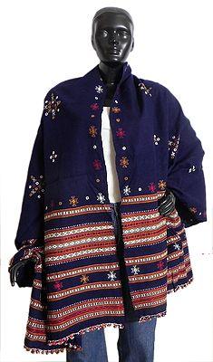 Dark Blue Woolen Kutch Shawl with Mirrorwork