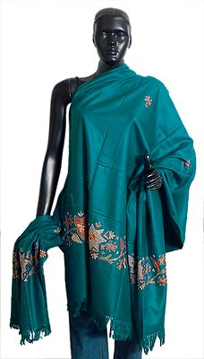 Dark Cyan Woolen Shawl with Embroidery and Sequin Work