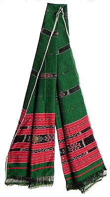 Green Stole with Red Ikkat Design Border