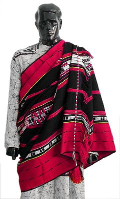 Red, Black and White Combination Striped Woolen Mens Naga Shawl with Weaved Design