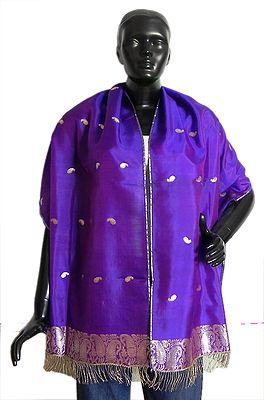 Purple Pure Silk Stole with All over Boota, Zari Border