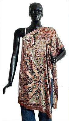 Light Brown with Black and Green Printed Satin Silk Stole