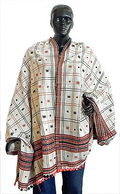 Check Design with Mirrorwork on White Woolen Shawl from Kutch