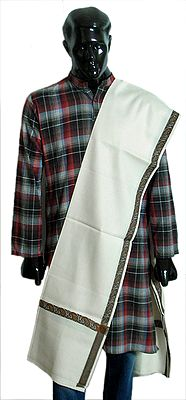 White Woolen Mens Shawl with Woven Border