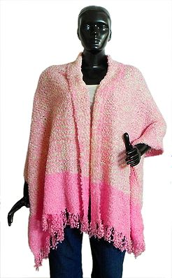 WHite and Pink Combination Woolen Shawl