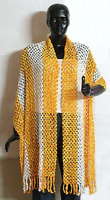 Yellow and White Fancy Silk Thread Stole