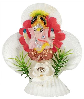 Ganesha on Decorated Shell Sculpture