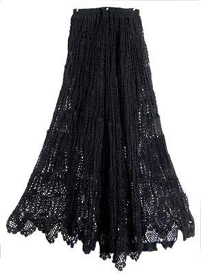 Black Crocheted Skirt