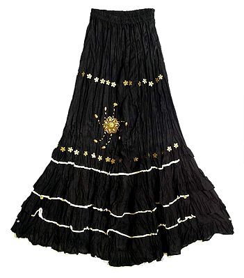 Black Long Gypsy Skirt with Sequin Work