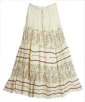 Off-White Georgette Long Skirt with Sequin Wok