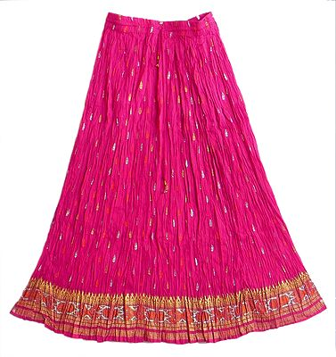 Magenta Skirt with Golden and Silver Block Print