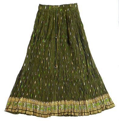 Green Skirt with Golden and Silver Block Print