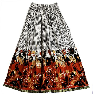 Black Dots and Floral Print on White Long Skirt with Zari Border