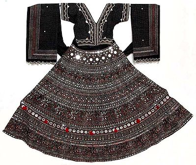 Ghagra Choli - Gorgeous Black Gujrati Dress with all over Mirror Work