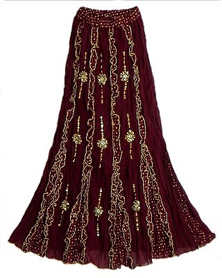 Maroon Cotton Long Skirt with Frills and Sequin Wok