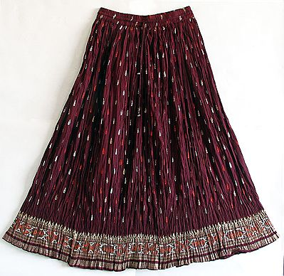 Maroon Skirt with Golden, Silver and Saffron Block Print