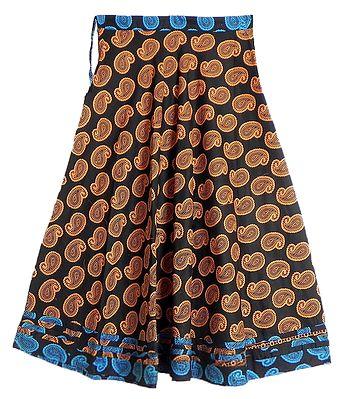 Yellow Paisley Print on Black Cotton Long Skirt with Cyan Blue Border
