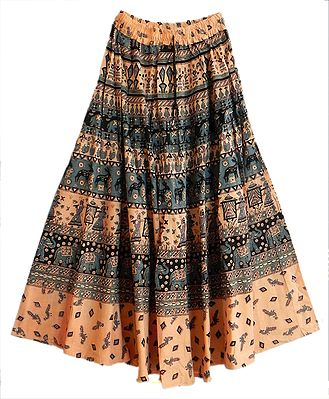 Peach with Grey Printed Long Skirt