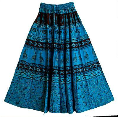 Black and Light Cyan Sanganeri Block Print on Dark Cyan Cotton Long Skirt