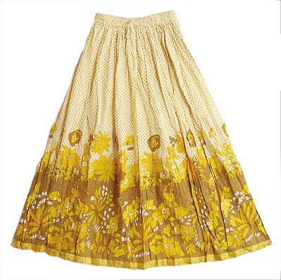 Yellow with Brown Floral Print on White Long Skirt with Zari Border
