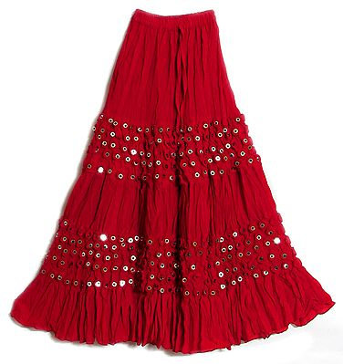 Red Skirt with Mirrorwork