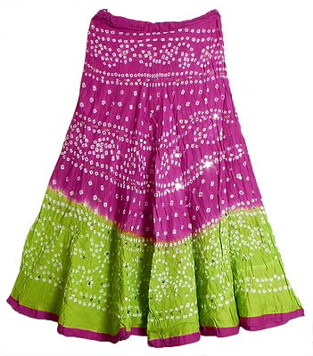 Dark Magenta with Light Green Tie and Dye Skirt with Sequins