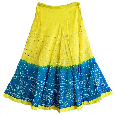 Yellow with Cyan Tie and Dye Skirt with Sequins