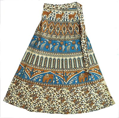 Blue, Brown and Off-White Wrap Around Skirt with Elephants, Giraffes and Deers