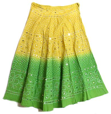 Yellow and Green Tie and Dye  Skirt with Mirrorwork
