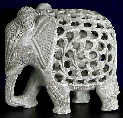 Intricately Carved Elephant within Elephant in Stone