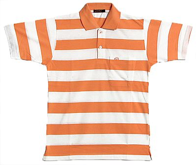 Light Saffron and White Stripe Polo T-Shirt