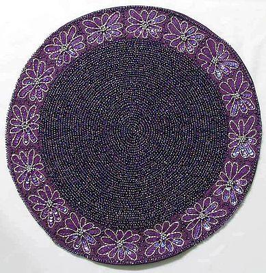 Purple Beaded Centre Table Mat