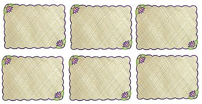 Hand Weaved Palm Leaf Dining Table Mats with Embroidery