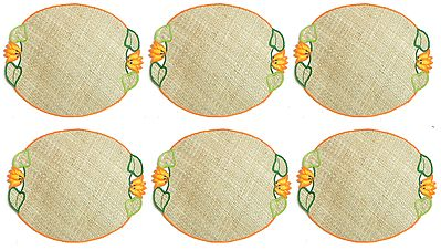 Hand Weaved Palm Leaf Table Mats with Embroidery