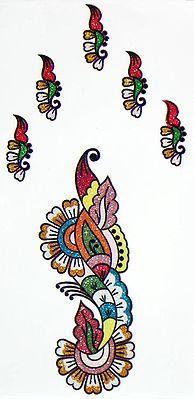 Multicolor Sticker Mehendi for Hand and Body Decor