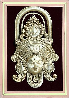 Face of Goddess Durga with Gorgeous Crown made of Jute - Wall Hanging