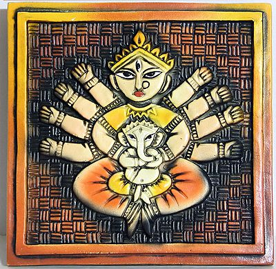 Ganesha Sitting in the Lap of Mother Durga - Wall Hanging