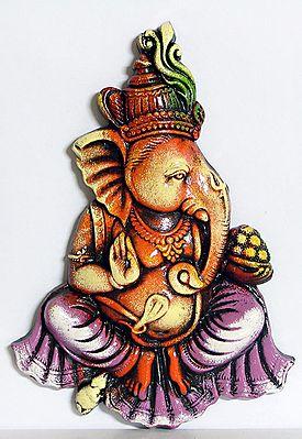 Ganesha Sitting with a Bowl of Modakas  - Wall Hanging