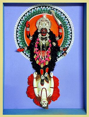 Kali Statue in a Glass Case - Wall Hanging