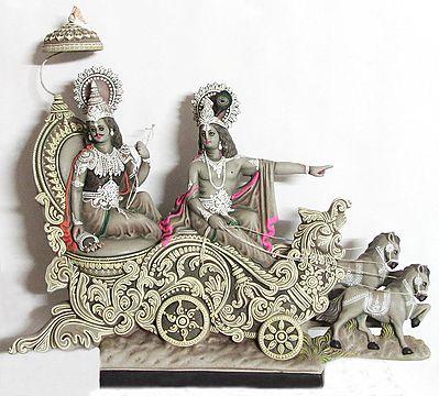 Krishna Preaching the Gita to Arjuna in the Battlefield of Kurkshetra in Mahabharata