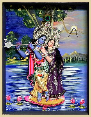 Radha Krishna Statue in a Glass Case with Hand Painted Background - Wall Hanging