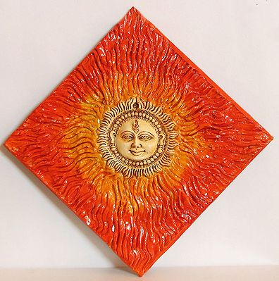 Hand Painted Sun God On Ceramic Painted Tile Wall Hanging