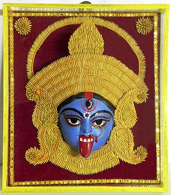 Face of Kali Decorated with Paddy Crown- Wall Hanging