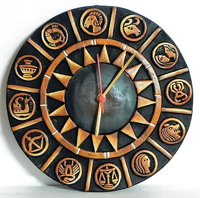 Battery Operated Wall Clock in a Terracotta Disc with Zodiac Signs - Wall Hanging