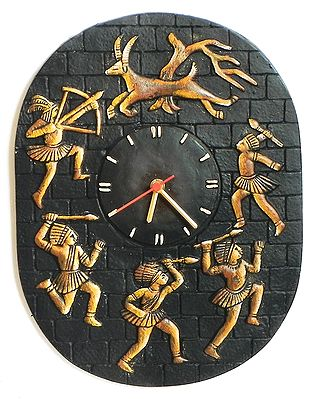 Battery Operated Wall Clock in a Terracotta Disc with Tribal Hunters - Wall Hanging